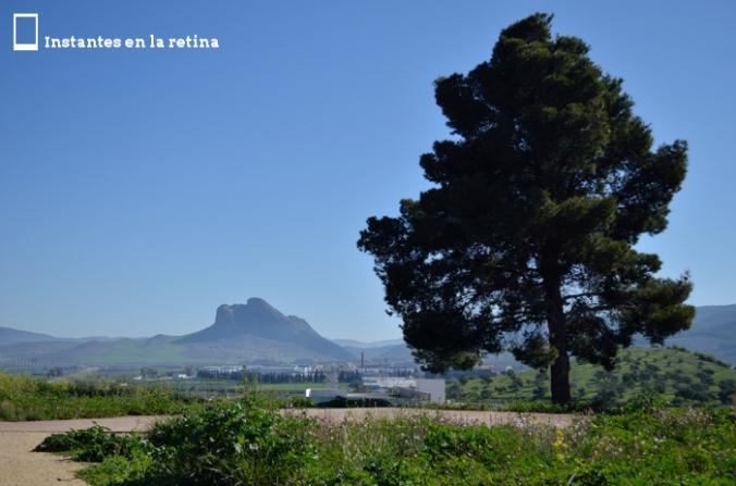 Vista de la Peña de los Enamorados desde el dolmen de Viera