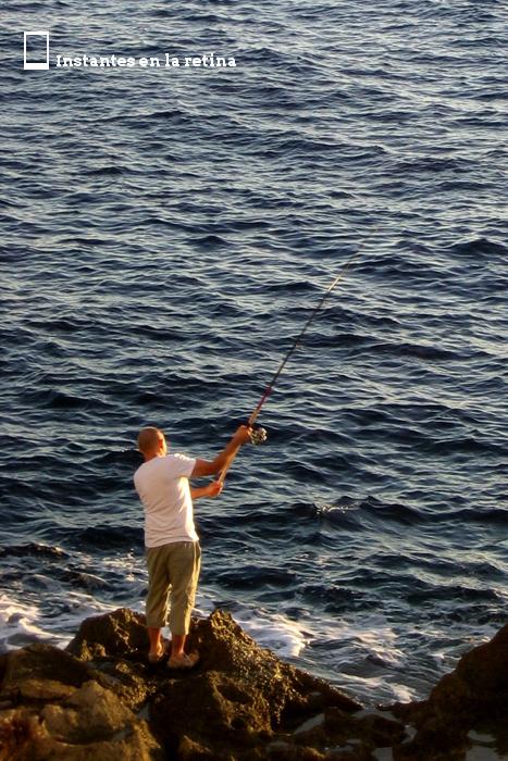 Vimos a un maltés pescando.